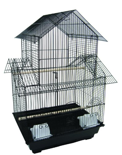 YML 5944 3/8″ Bar Spacing Pagoda Bird Cage with Stand, 18″ x 18″/Small, Black