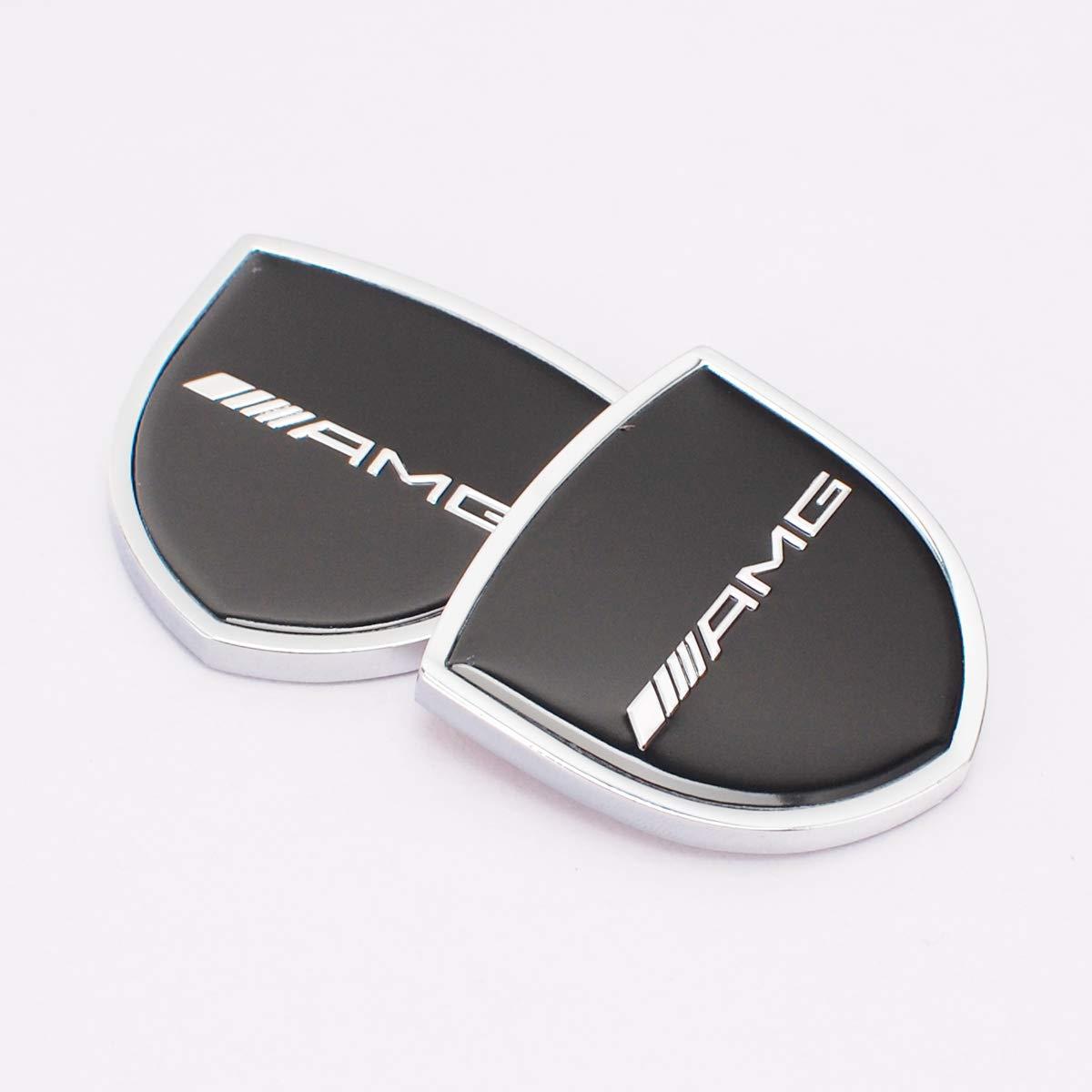 Zhmyyxgs 2 Pcs Shield Refit Logo Auto Car Rear Side Fender Stickers Metal Decorative Logo Emblems Badge Logo Accessories for Mercedes-AMG