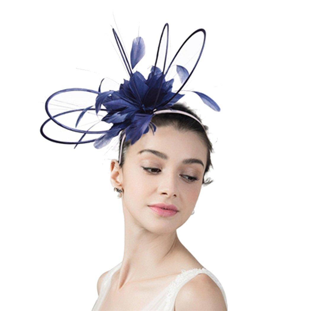 Womens Fascinator Derby Race Headband Church Wedding Headwear with Feather