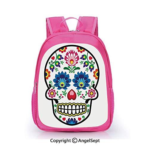 (Children Schoolbag Cute Animal Cartoon Custom,Polish Folk Art Style Mexican Sugar Skull Design Ethnic Carnival Theme Decorative Multicolor,15.7inch,Fashion Lightweight School)