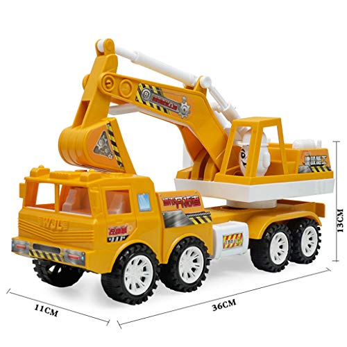 Friction Powered Push & Play Engineering Vehicles,Heavy Duty Construction Site Car Toys,Collectible Model Vehicles,Crane,Digger,Compact Gift Toy for 2, 3, 4,5 Year Olds and up,Boys,Kids (Digger)