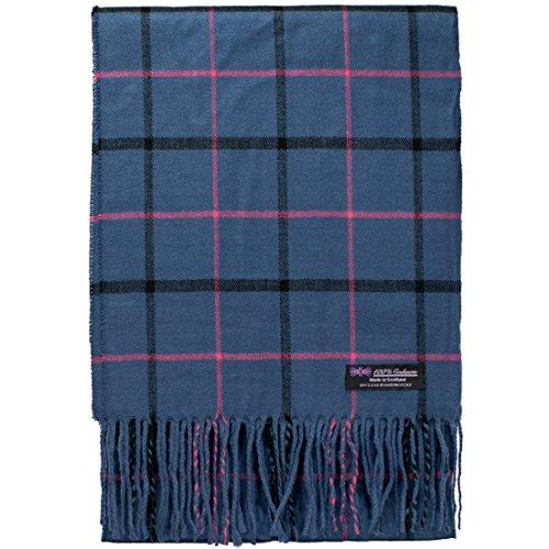 2PLY 100% Cashmere Scarf Elegant Collection Made in Scotland Wool Nova Tartan Plaid (Navy Blue Pink Black)
