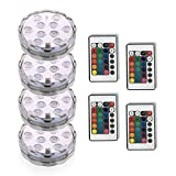 Aseun 4PC Submersible LED Lights 3AAA Battery 10LED Remote Controlled RGD Multi Color Fountains Light-Halloween Christmas Lights Aquarium Pond Party Wedding Vase Base Holiday Lighting