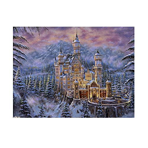 Whitelotous Snow Castle 5D Diamond Painting Embroidery DIY Paint-By-Number Kit Home Wall Decor 9.5 x 7.9 Inch