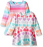 The Childrens Place Girls Skater Dress (Pack of 2), Multi Stripe/Multi Hearts, 12-18MOS