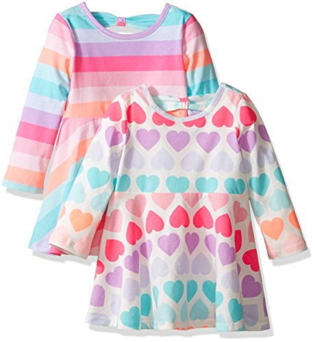 The Children's Place Girls' Skater Dress (Pack of 2), Multi Stripe/Multi Hearts, 18-24MONTH