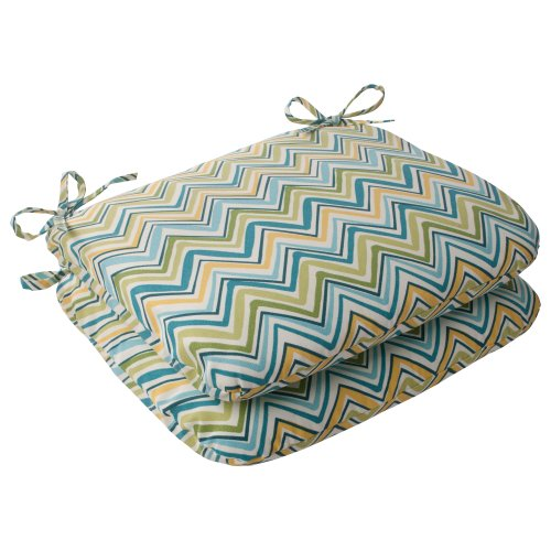 Pillow Perfect Indoor/Outdoor Cosmo Chevron Rounded Seat Cushion, Lilypad, Set of 2