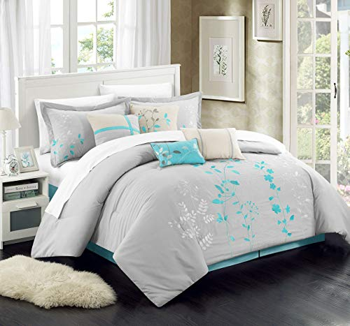 Chic Home 8 Piece Bliss Garden Comforter Set, Queen, Turquoise from Chic Home