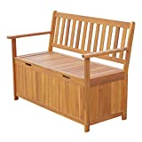 Outsunny 47'' Wooden Outdoor Storage Bench with Removable Waterproof Lining