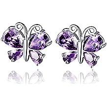 Foreverstore 925 Silver Platinum Plated Earrings Stud Purple Cubic Zirconia Earrings Stud Jewelry Fashion Women