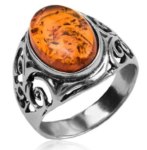 Honey Amber and Sterling Silver Celtic Oval Ring Sizes 5,6,7,8,9,10,11,12
