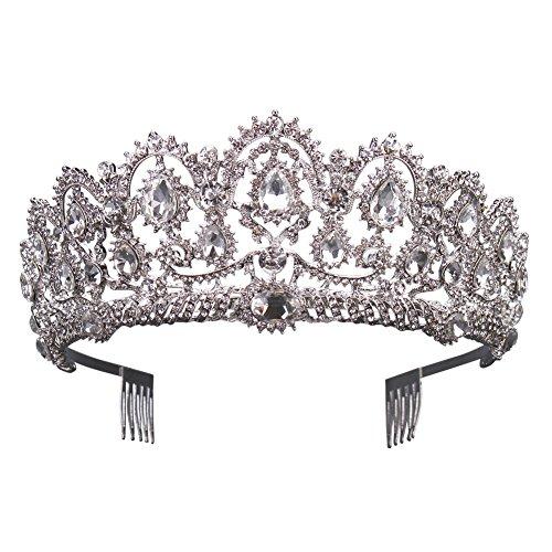 Gorgeous Silver Queen Crystal Crown Headband Rhinestone Wedding Princess Tiara Bridal Party Birthday Pageant Headpieces (White) -