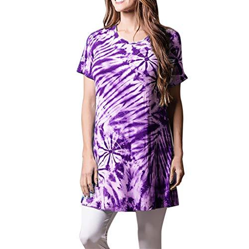 Haalife◕‿Womens Casual V Neck Short Sleeve Criss Cross Summer T-Shirt Hawaii Style T Shirts Tees Purple ()