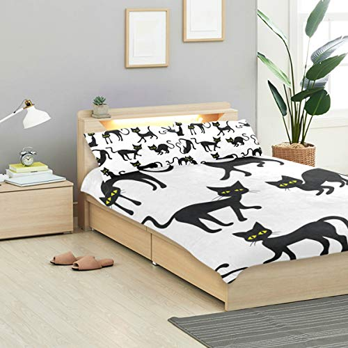 VANKINE Black Duvet Cover Set Black Cats Silhouettes Clipart Design Bedding Decoration Queen/Full Size 3 PC Sets 1 Duvets Covers with 2 Pillowcase Microfiber Bedding Set Bedroom Decor Accessories