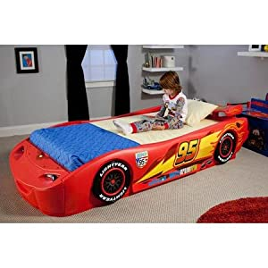 Disney - Cars Lightning McQueen Twin Bed with Lights Recommended For Kids Of All Ages 13