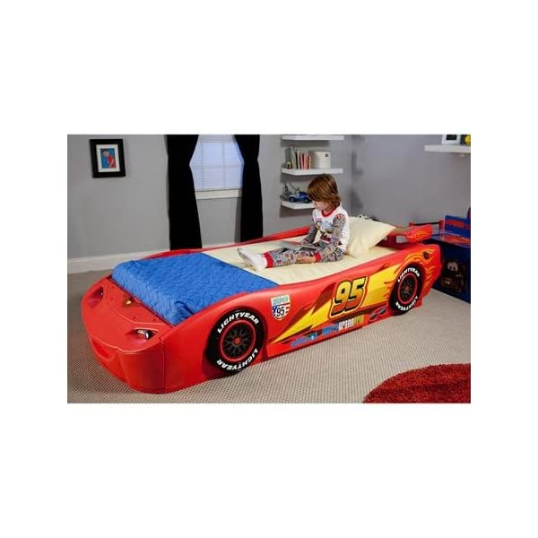 Disney - Cars Lightning McQueen Twin Bed with Lights Recommended For Kids Of All Ages 1