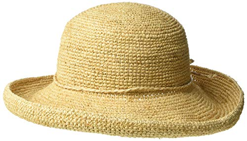 Scala Women's Crocheted Packable Raffia Hat,Natural,57cm