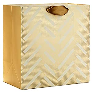 "Hallmark Signature 15"" Oversized Gift Bag, White and Gold (Weddings, Bridal Showers, Birthdays, All Occasion)"