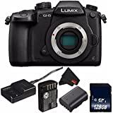 Panasonic Lumix DC-GH5 Mirrorless Micro Four Thirds Digital Camera (International Model) DC-GH5KBODY + DMW-BLF19 Lithium Ion Battery + 128GB SDXC Class 10 Memory Card + MicroFiber Cloth Bundle