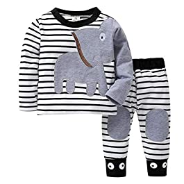 Baby Pants Set Newborn Clothes for 0-24 Months  Elephant Striped Tops+Pants Outfits Clothing Set
