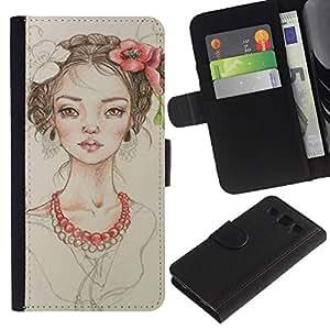 Planetar® Modelo colorido cuero carpeta tirón caso cubierta piel Holster Funda protección Samsung Galaxy S3 III i9300 i747 ( Floral Girl Pearl Fashion Portrait Beige )