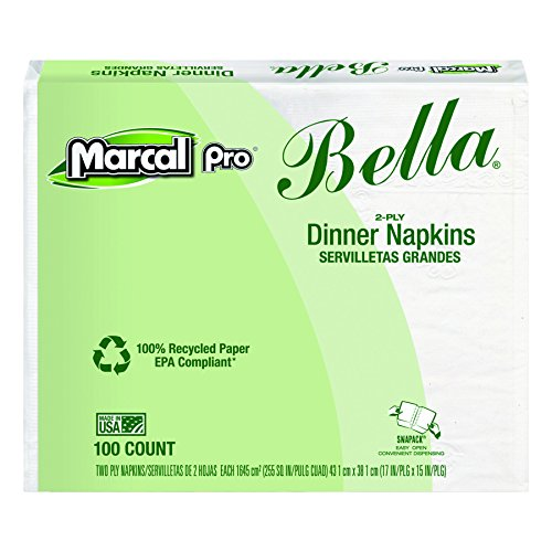 Marcal PRO 06410 100% Premium Recycled Bella Dinner Napkins, 15 x 17, White (Case of 3000) (Recycled Dinner Napkin)
