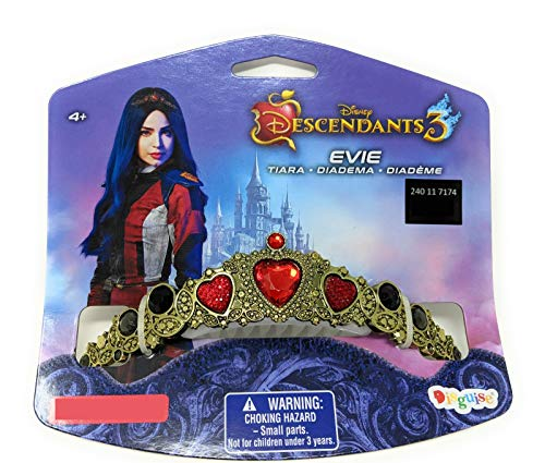 Disney Descendants 3 Evie Tiara Crown Dress Up Halloween Costume Accessory Gold, Red