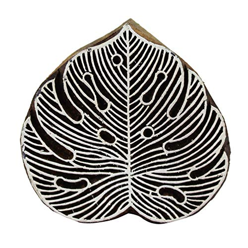 Monstera Leaf Indian Wooden Pottery Textile Stamp Fabric Printing Blocks, Batik Craft Scrapbook Clay ()