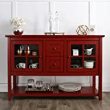 Walker Edison Furniture Console Table TV Stand, 52-Inch, Red