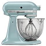 KitchenAid Unisex KSM155GB Artisan Design Series 5-Quart Tilt-Head Stand Mixer with Glass Bowl Azure