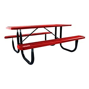 Norwood Commercial Furniture Heavy-Duty Rectangle Picnic Table w/Diamond Expanded Metal 8' L, Black Frame/Red Plank