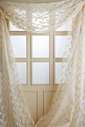 TSC Pure silk Ivory jacquard woven orgnaza or organdy sheer window scarf 52