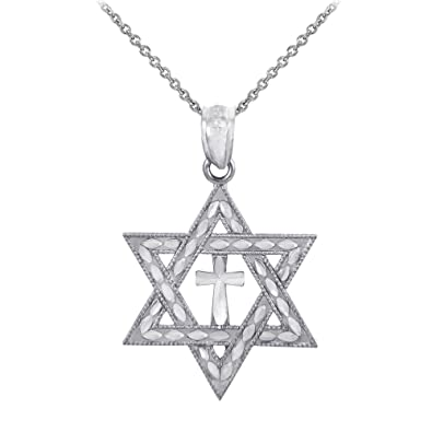 Amazon 925 sterling silver jewish charm star of david cross amazon 925 sterling silver jewish charm star of david cross pendant necklace 16 jewelry aloadofball Gallery