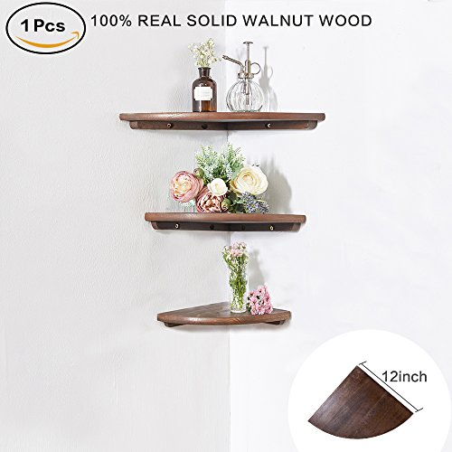 INMAN Wooden Corner Shelf, 1 Pcs Round End Hanging Wall Mount Floating Shelves Storage Shelving Table Bookshelf Drawers Display Racks Bedroom Office Home Décor Accents (Walnut, 12