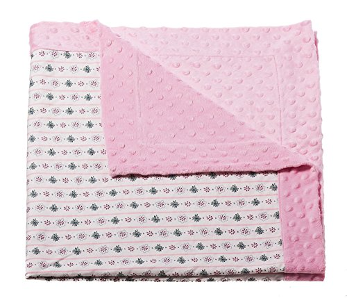 Pink Dot Jersey Cotton (Pink Tiny Flowers Printed Minky Dot Baby Blanket)