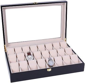 Caja de reloj para hombres 24 rejillas Ranuras Vitrina Caja de ...