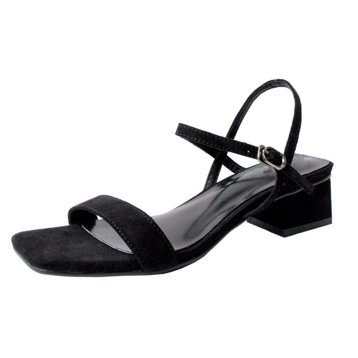 KPHY-Einzelne Schnallen Dicke Schuhe Square - Low Heels Hundert Damenschuhe Nahen Schuhe Sandalen Und Mädchen.37 Schwarz