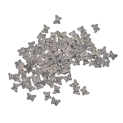 Fenteer 100Pcs/lot Antique Tibetan Silver Alloy Metal Butterfly Beads for Jewelry Making Fit for Bracelet Necklace Crafts Making (10 x 8 mm)