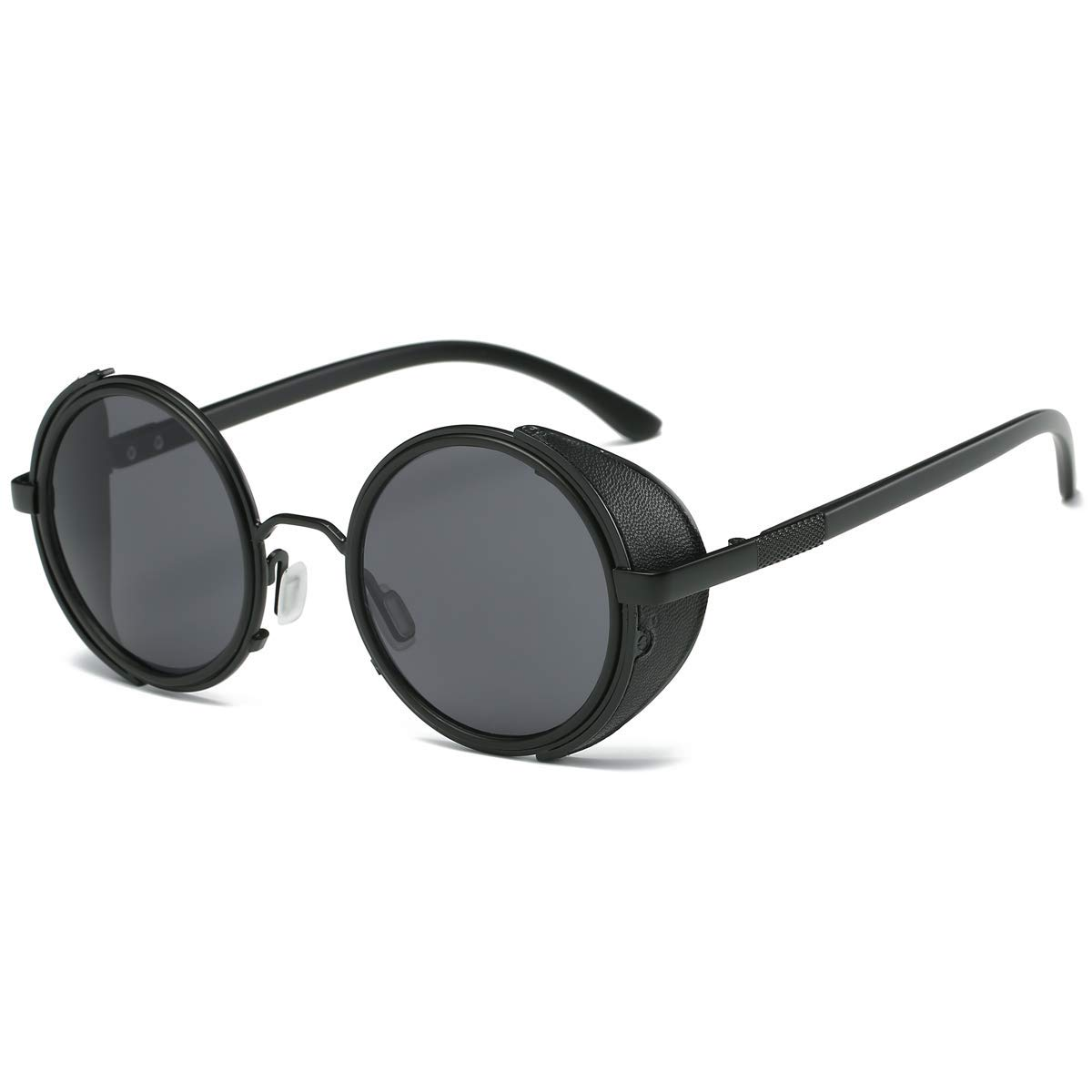 162226be838 Amazon.com  Dollger Steampunk Vintage Retro Round Sunglasses Metal Circle  Frame (Black Lens+Black Frame