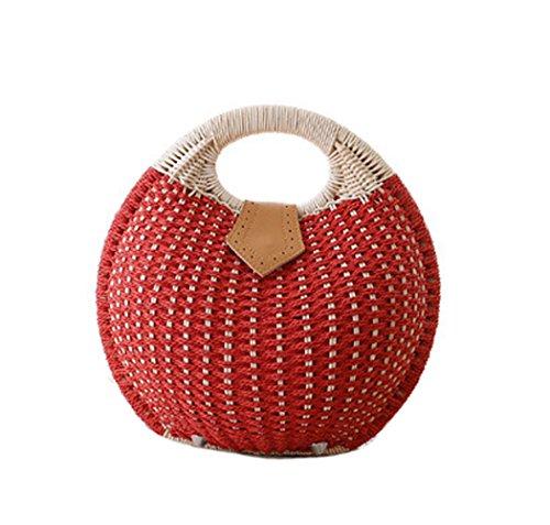 (Tonwhar Lady's Stylish Shell Shape Straw Tote Handbag Rattan Beach Bag (Orange Red))