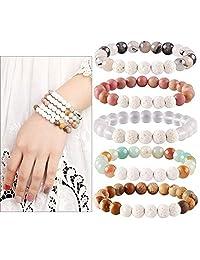 Blinst Aromatherapy Lava Stone Essential Oil Diffuser Bracelet Semi Precious Gemstone Round Beads Crystal Bracelet
