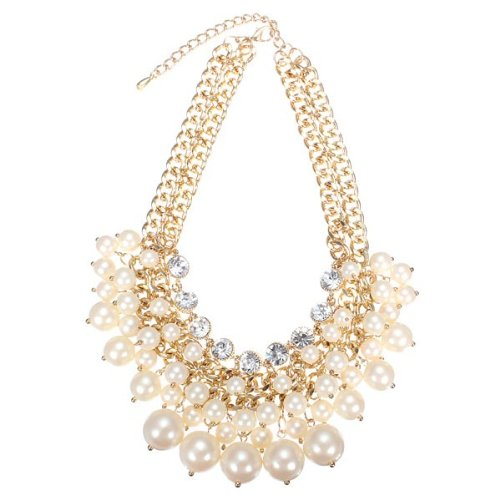 White.Multilayer Pearl Bead Crystal Collar Necklace Gold Plated Chain by TJSpecial