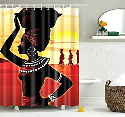 African Art Shower Curtain Print Fabric Bath Decor Waterproof Anti Mildew Polyester