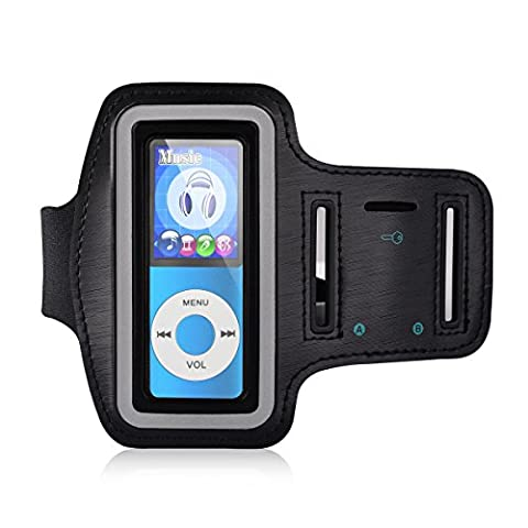 MYMAHDI Adjustable Gym Sport Wrist Strap Armband for MP3 Players,Scratch Resistant Meterial With Sweatproof and Breathable Function,Suitable For Your Workout,Key Pocket and Earphone Hole (Armband Music Player)