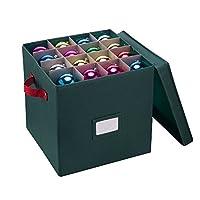 Cofre de almacenamiento con adornos Elf Stor con divisores - Tiene capacidad para 64 bolas, verde