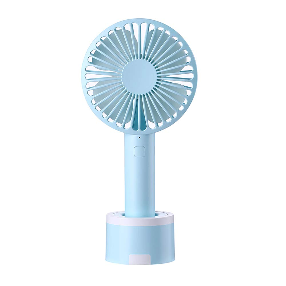 Mini Desk Fan Handheld Fan, Whisper Quiet Portable Personal USB Little Fan with Phone Holder, 2000mA Rechargeable Operated Battery, 3 Speeds Small Fan for Home, Office, Outdoor or Travel(Blue07)