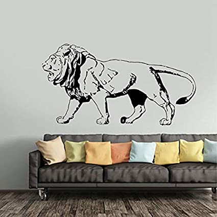 wZUN León Animal Etiqueta de la Pared de Vinilo decoración del hogar Sala de Estar Dormitorio calcomanía diseño patrón extraíble 118X63 cm