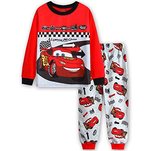4t Sleepwear - Boys Pajamas Sets Children Christmas Pants 100% Cotton Spider-Man Long Kids Snug Fit Pjs Winter Toddler Sleepwear (red car, 4T)