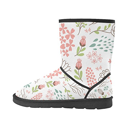 Boots 5 On Snow InterestPrint Size Classic Womens Flowers 5 12 Pattern Colorfuler Print Boots Color9 Snow CtF7qF8