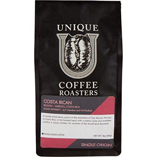 Unique Coffee Roasters Single Origin Specialty Costa Rican Royal Tarrazu Whole Bean Coffee, 1 LB, Medium/Dark French Roast, 100% Arabica Premium Quality